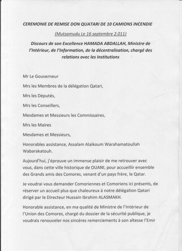 Discours du ministre de l 39 int rieur anjouan for Cabinet du ministre de l interieur